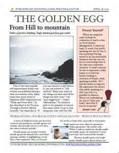 The inaugural issue of The Golden Egg Newsletter
