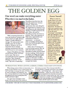 The Golden Egg - June 2015